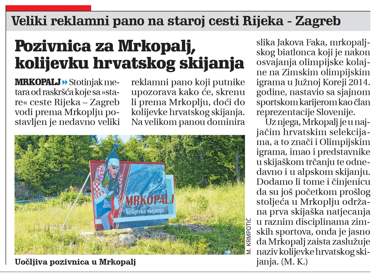 članak novi list, kolijevka hrvatskog skijanja