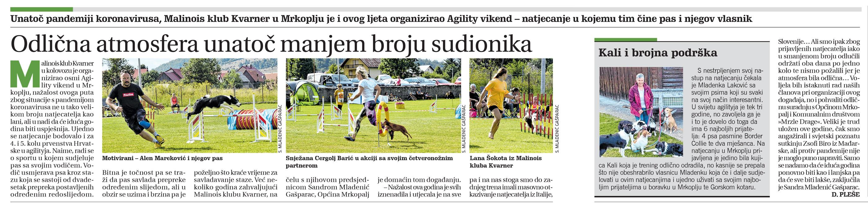 članak novi list, agility vikend