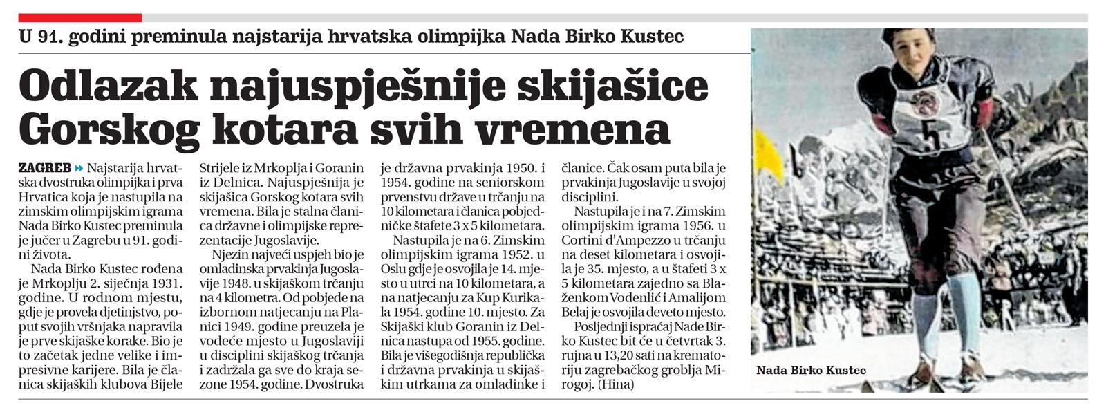 Članak Novi List, umrla Nada Birko Kustec