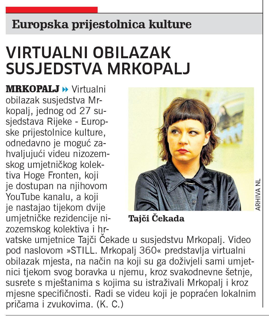 Članak Novi List, Virtualni obilazak susjedstva Mrkopalj