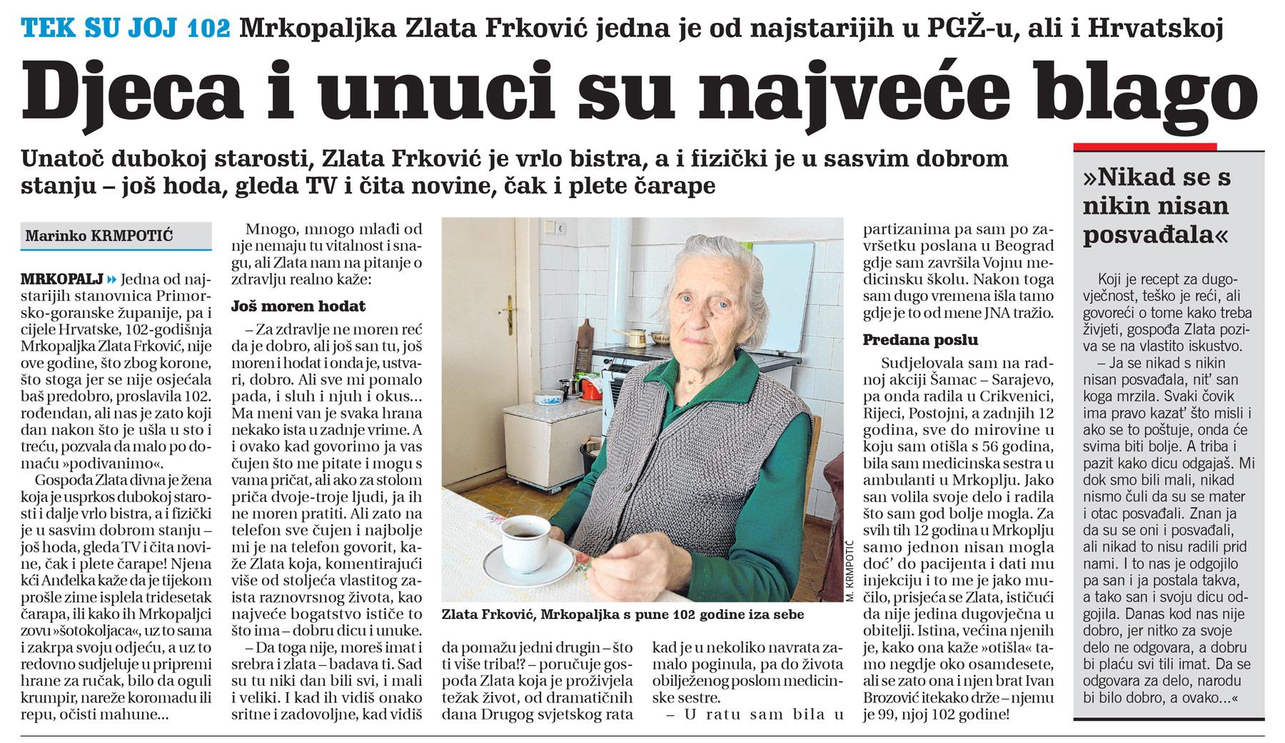 članak, novi list, zlata frković, 102 godine