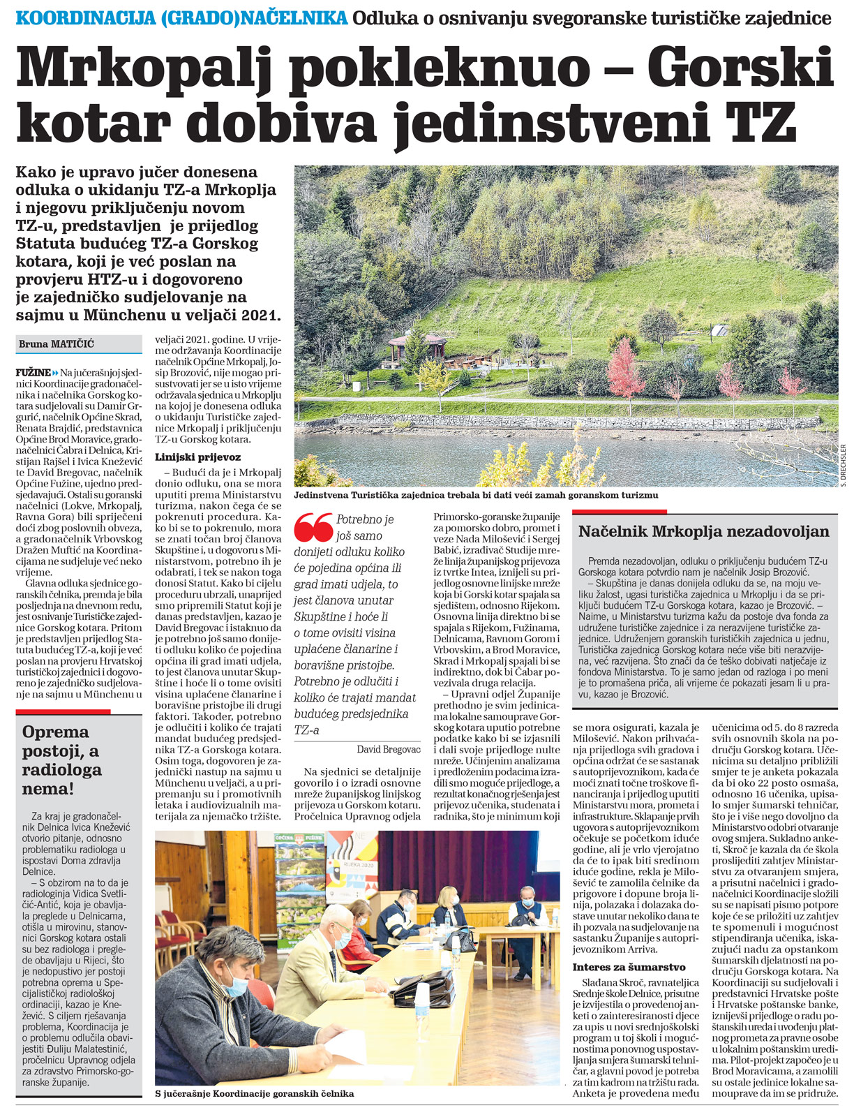 članak, novi list, koordinacija načelnika, tz gorskog kotara