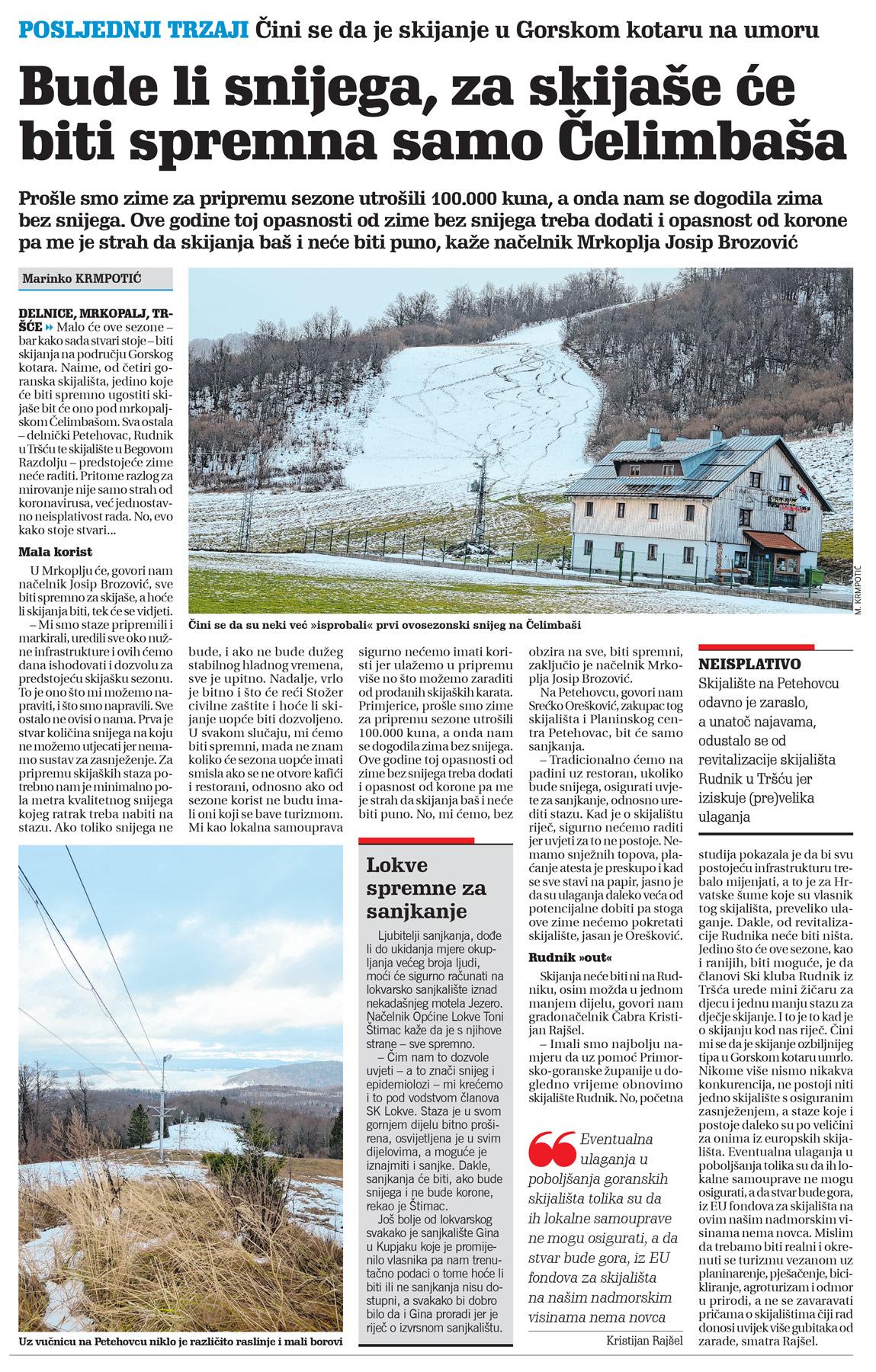 clanak, novi list, skijanje u gorskom kotaru