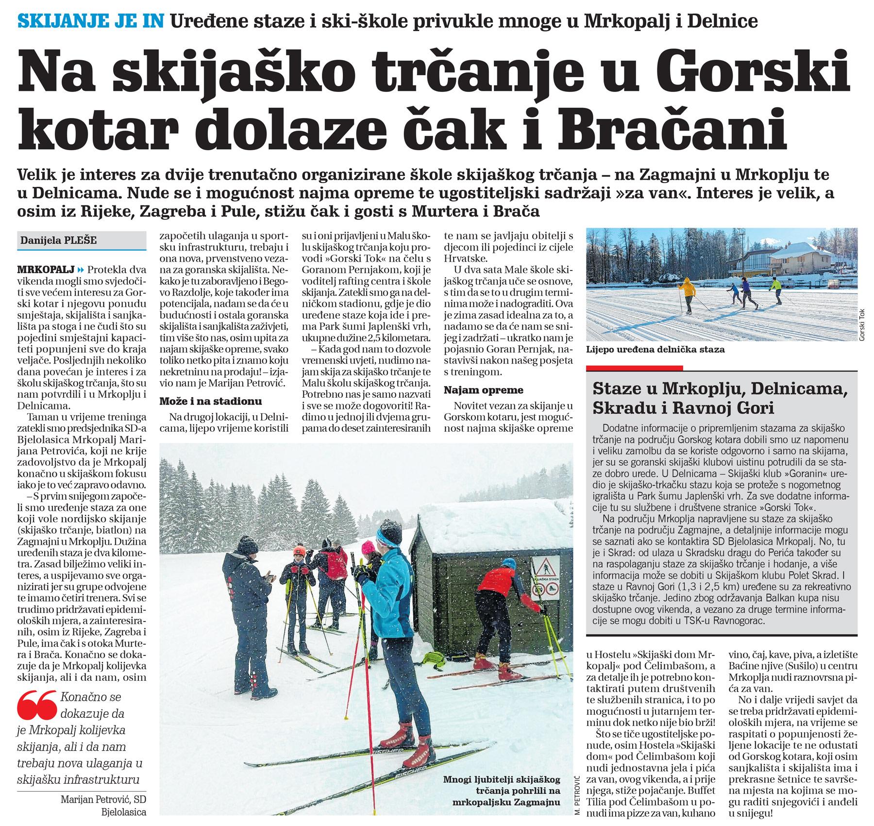 članak, novi list, skijaško trčanje