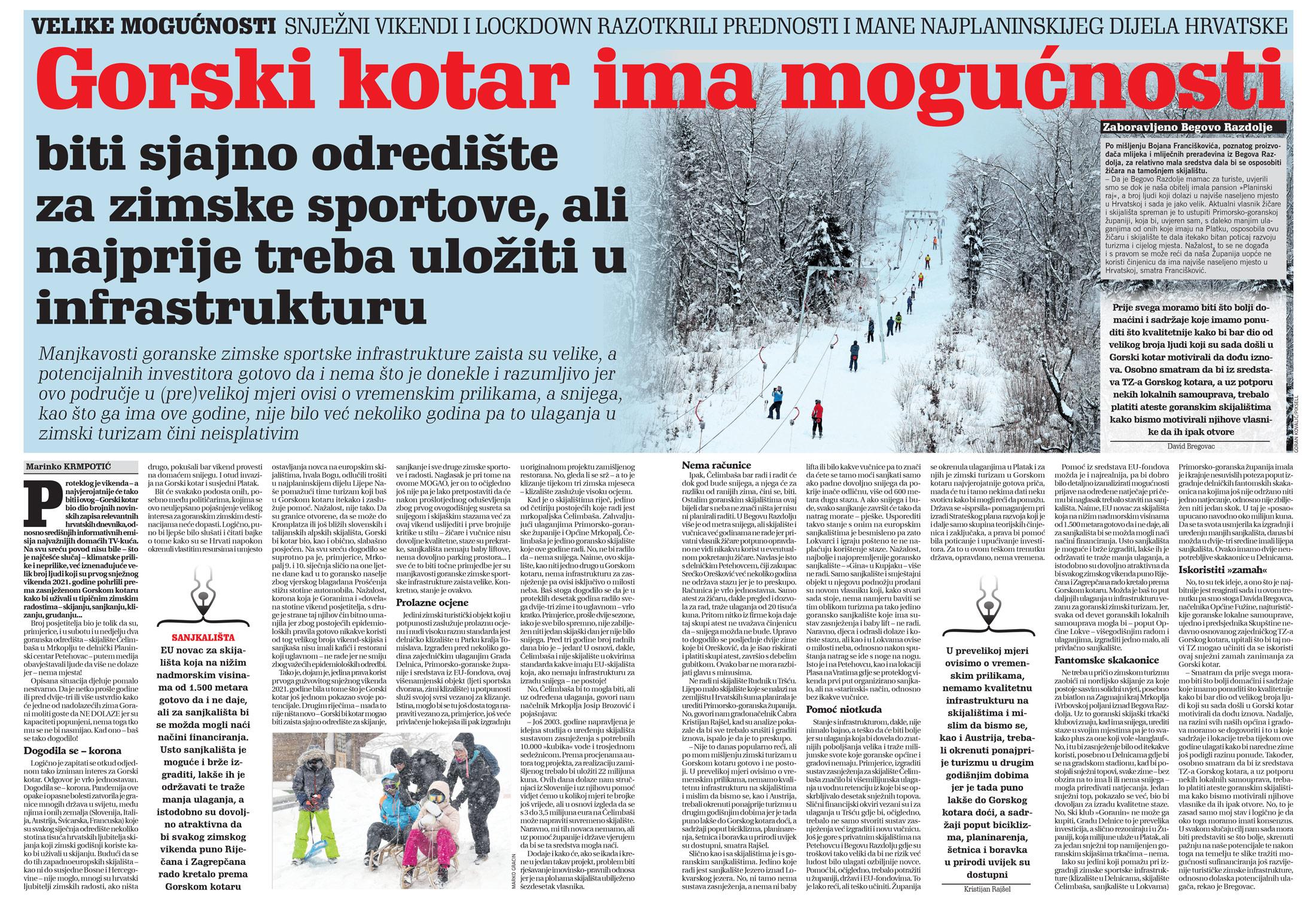 članak, novi list, mogućnosti gorskog kotara