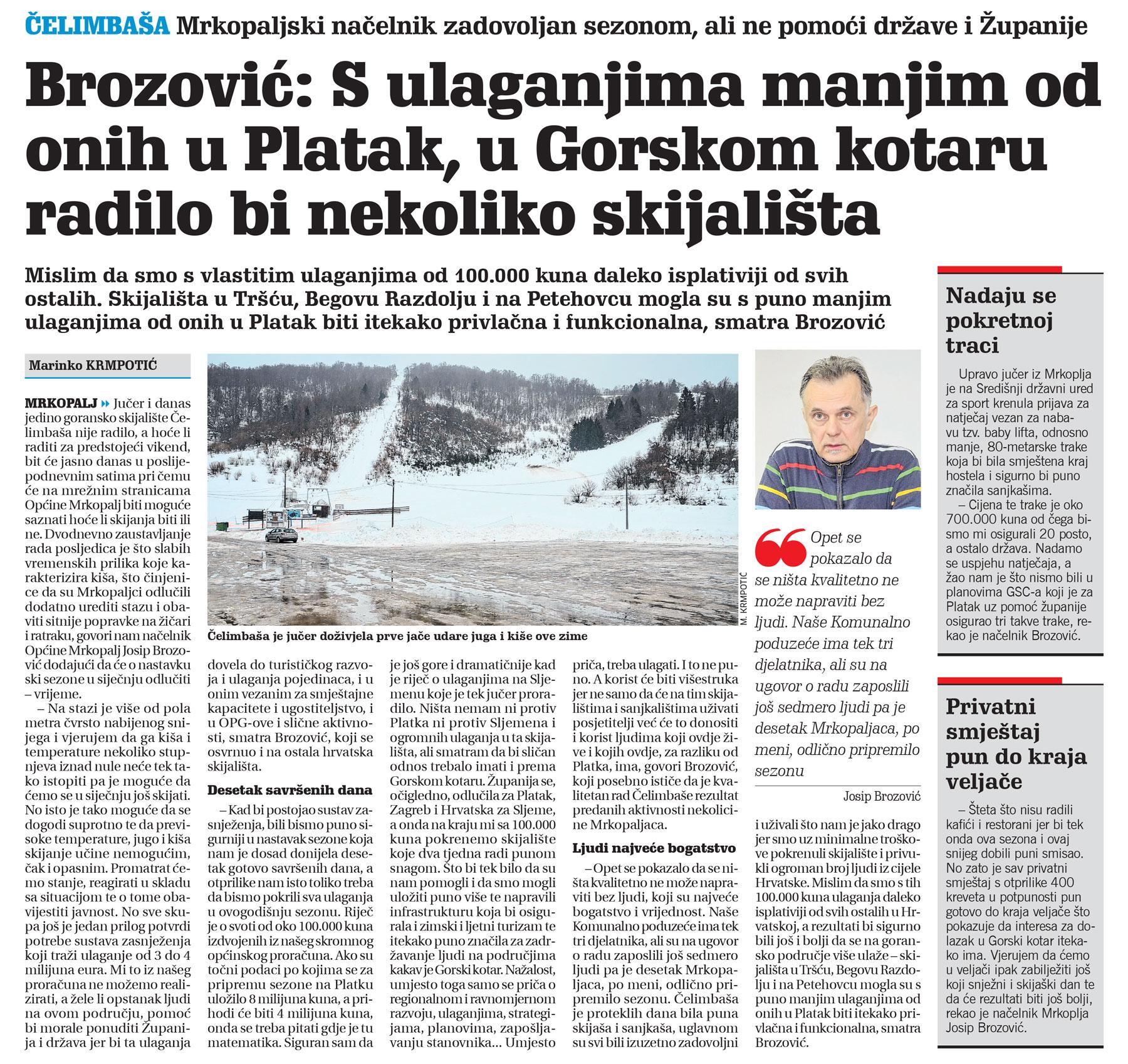 članak, novi list, mrkopaljski načelnik, zima, sezona