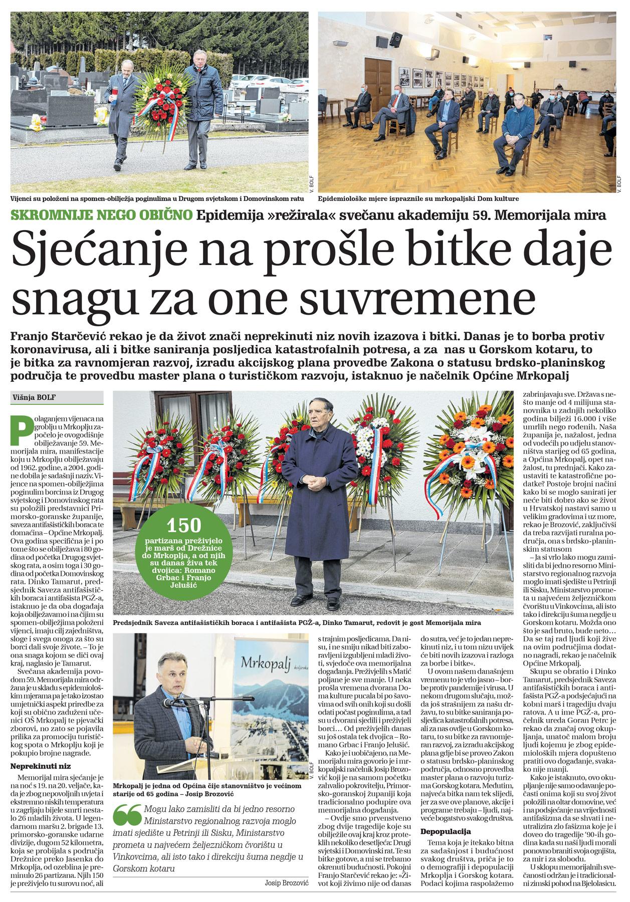 članak, goranski novi list, 59. memorijal mira
