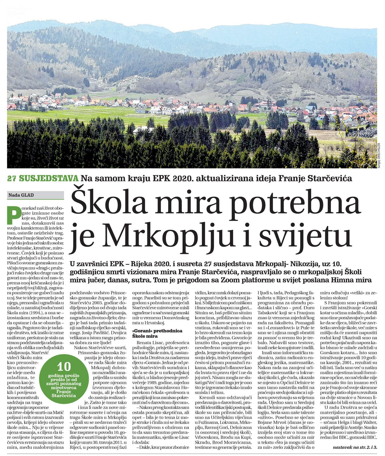 članak, goranski novi list, škola mira