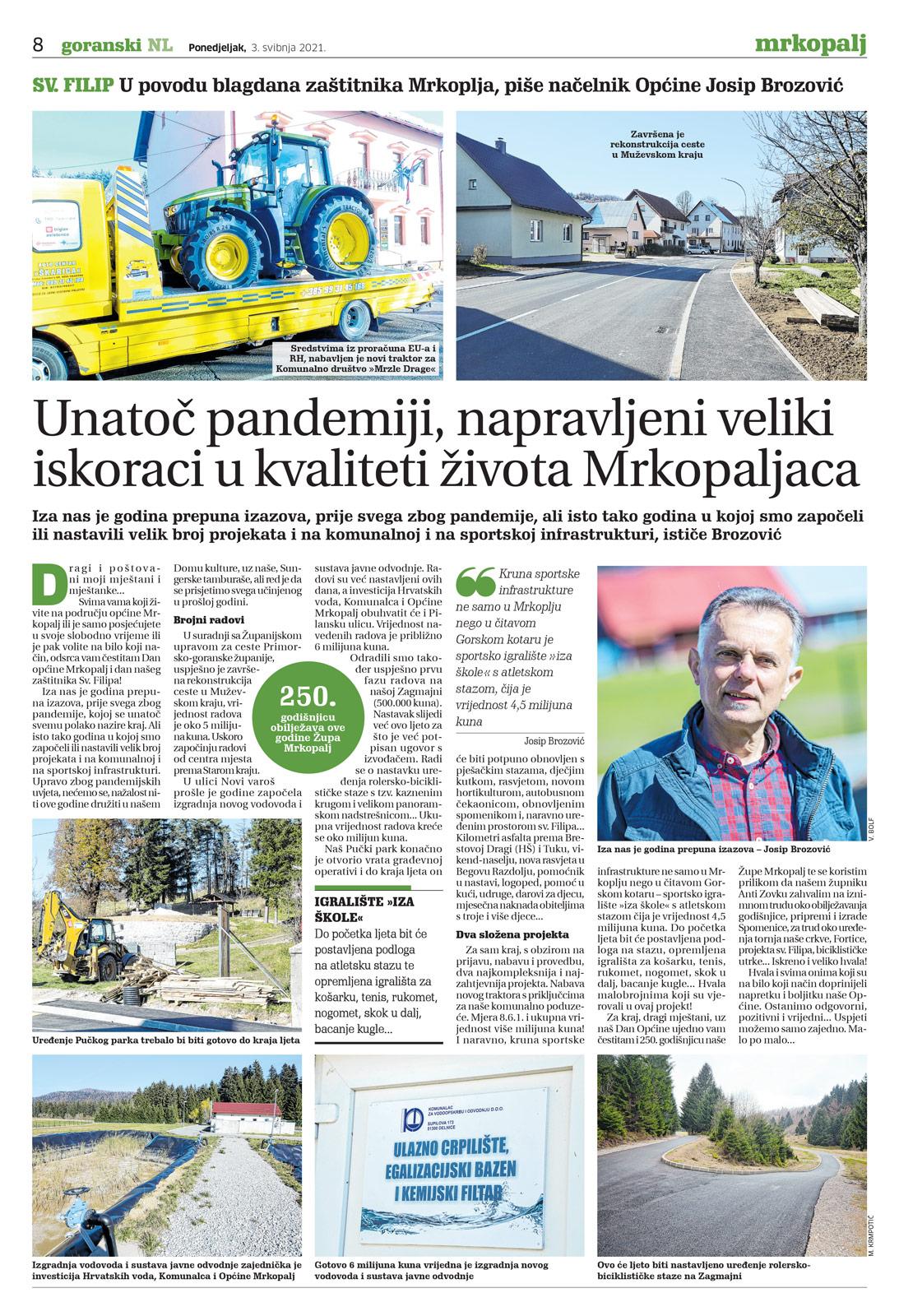 članak, goranski novi list, josip brozović